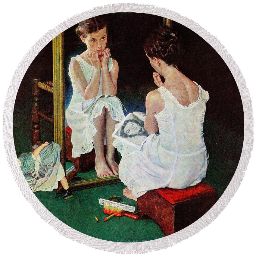 Actresses Round Beach Towel featuring the drawing Girl At The Mirror by Norman Rockwell