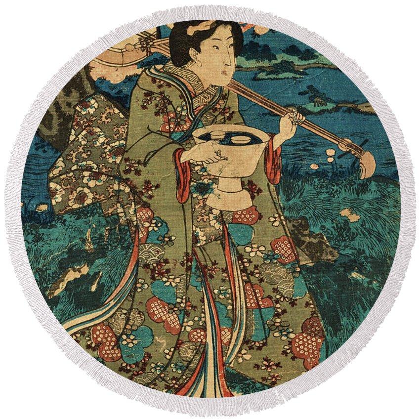 Party Round Beach Towel featuring the painting Going To A Cherry Blossom Viewing Party by Utagawa Kunisada