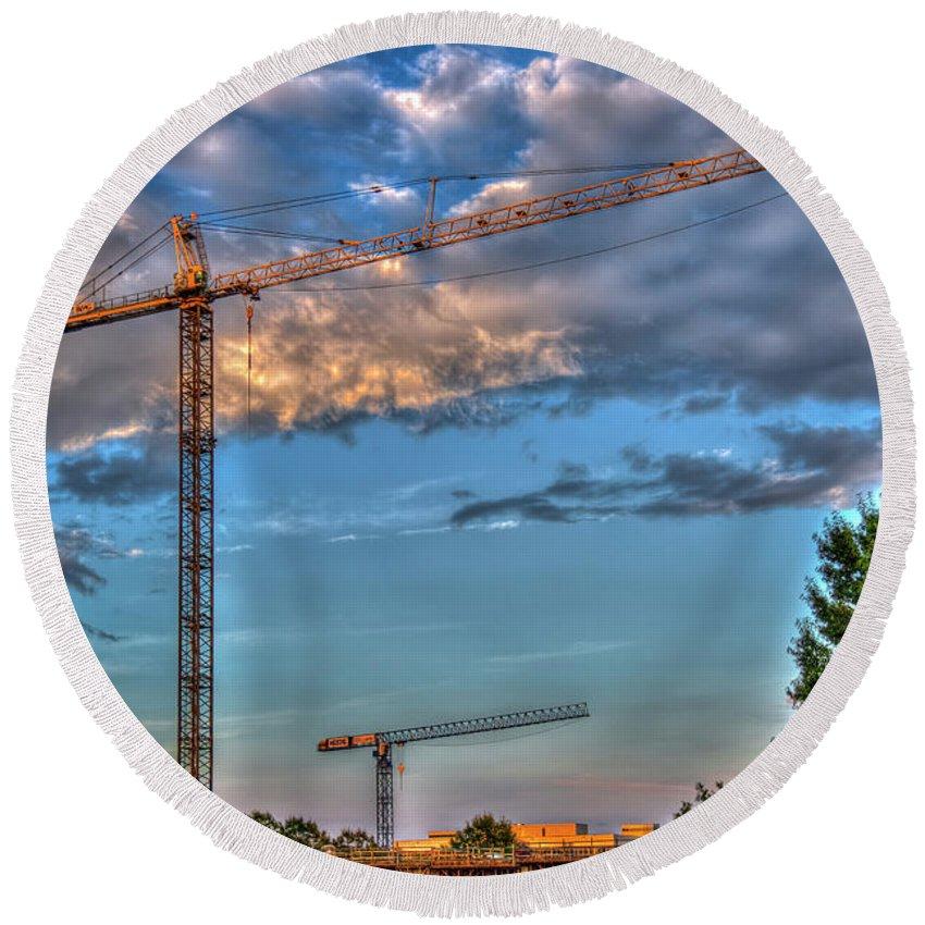 Reid Callaway Construction Tower Cranes Round Beach Towel featuring the photograph Going Up Greenville South Carolina Construction Cranes Building Art by Reid Callaway