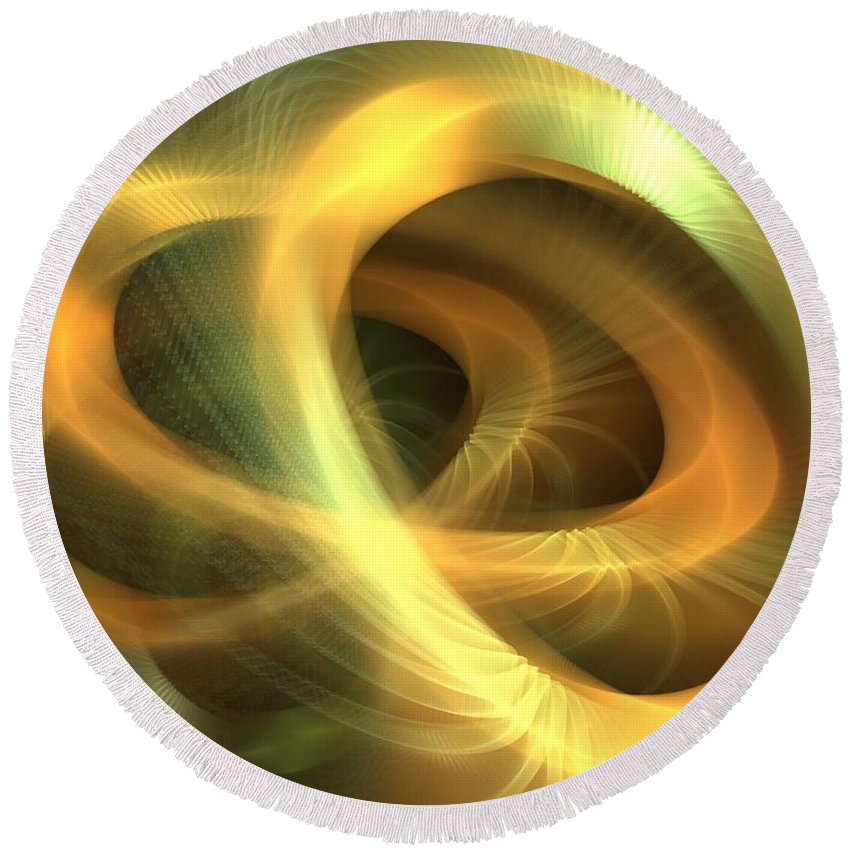 Apophysis Round Beach Towel featuring the digital art Golden Rings by Kim Sy Ok