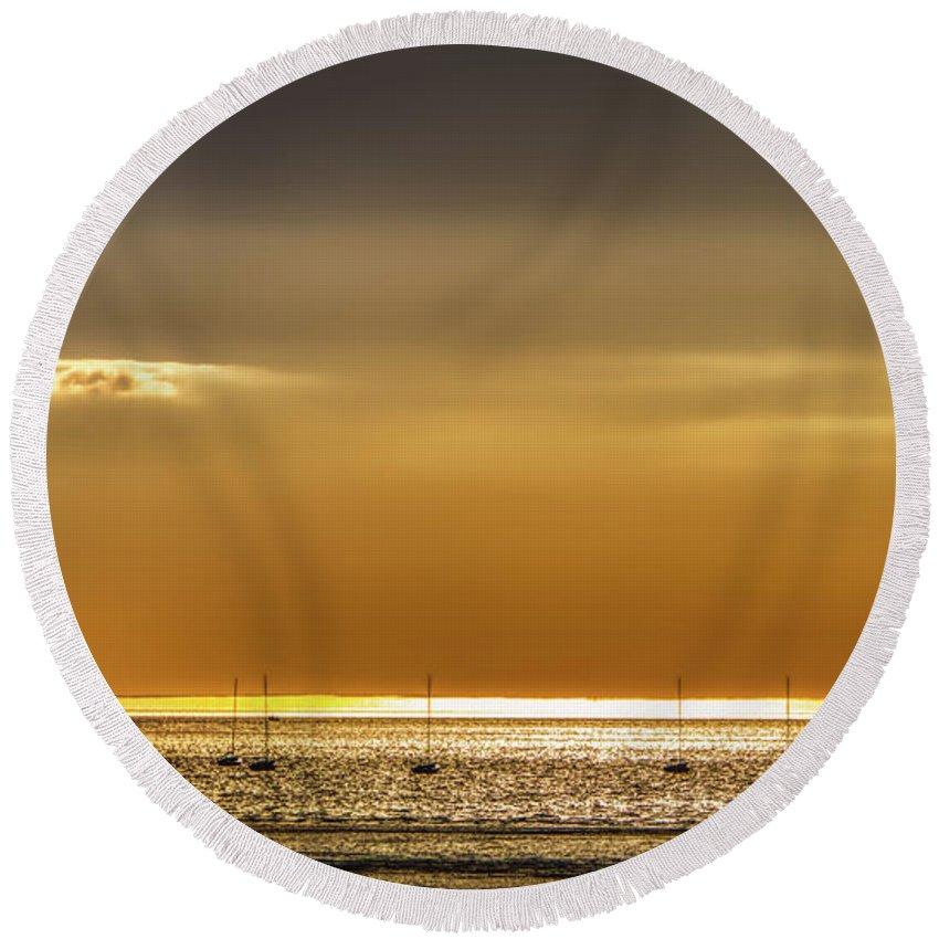 Brewster Round Beach Towel featuring the photograph Golden Sunset by Robert Anastasi