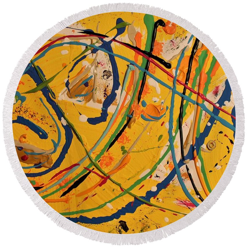Colorado Round Beach Towel featuring the painting Gone Fishing by Pam Roth O'Mara