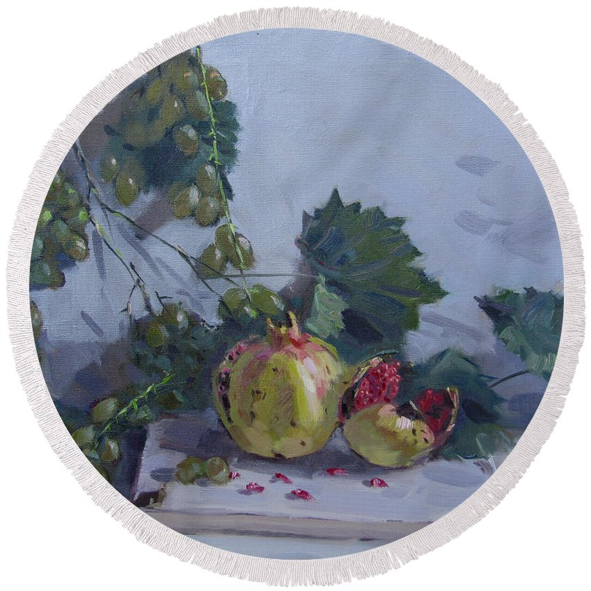 Grapes Round Beach Towel featuring the painting Grapes And Pomegranates by Ylli Haruni