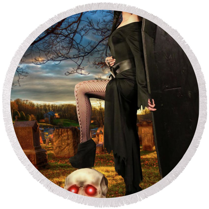 Vampire Round Beach Towel featuring the photograph Grave Sunset by Jon Volden