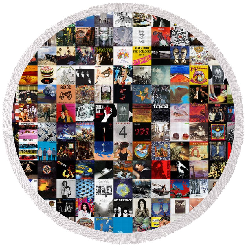 Album Covers Round Beach Towel featuring the digital art Greatest Album Covers of All Time by Zapista OU