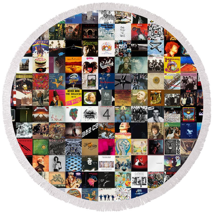 Album Covers Round Beach Towel featuring the digital art Greatest Rock Albums Of All Time by Zapista Zapista
