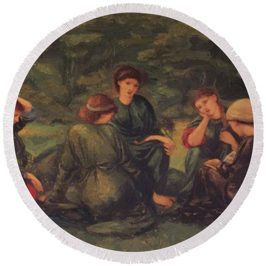 Green Round Beach Towel featuring the painting Green Summer 1868 by BurneJones Edward