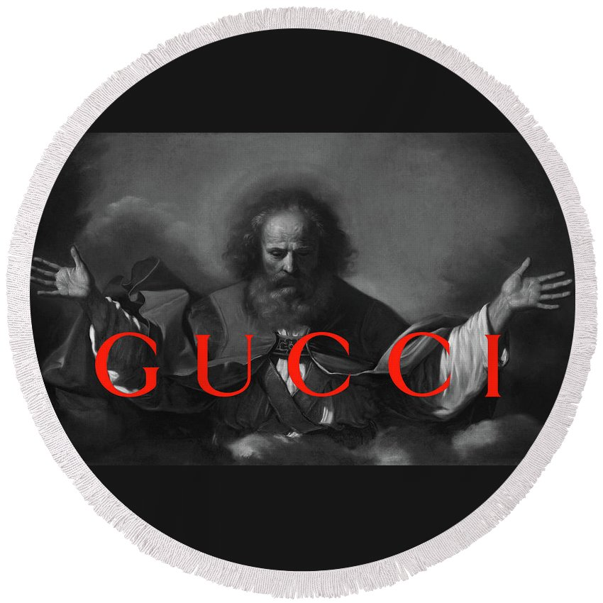 Gucci Round Beach Towel featuring the painting Gucci-4 by Nikita