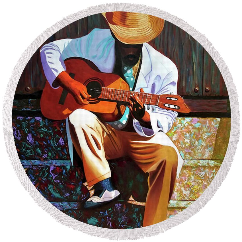 Cuban Round Beach Towel featuring the painting Guitar player #3 by Jose Manuel Abraham