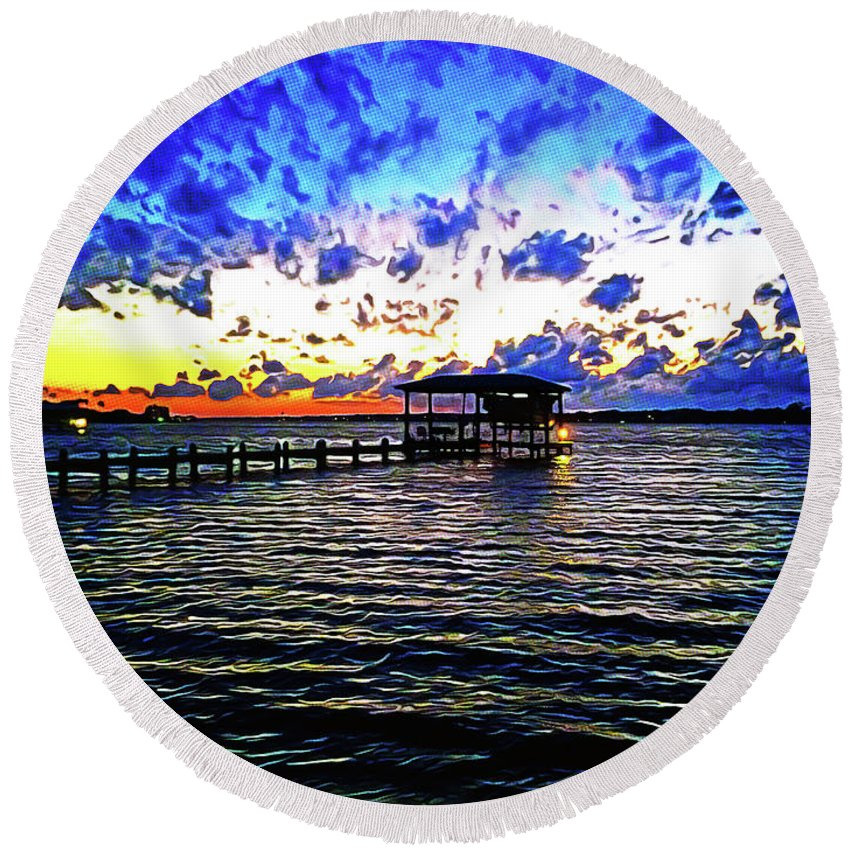 Gulf Shores Round Beach Towel featuring the photograph Gulf Shores Sunset by Chip Evans