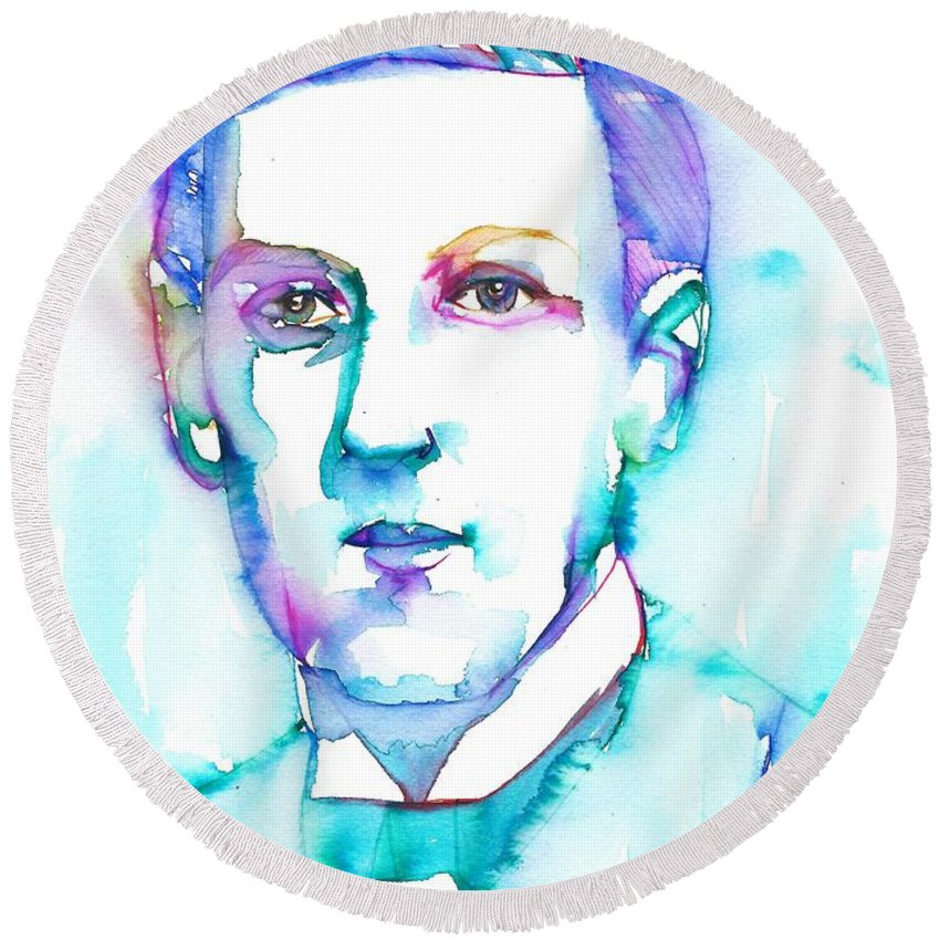 Lovecraft Round Beach Towel featuring the painting H. P. Lovecraft - Watercolor Portrait.7 by Fabrizio Cassetta