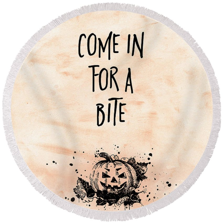 Halloween Round Beach Towel featuring the digital art Halloween Come In For A Bite by Melanie Viola