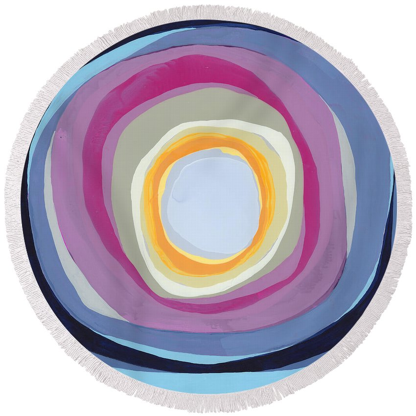 Abstract Round Beach Towel featuring the painting Hang Cool by Claire Desjardins