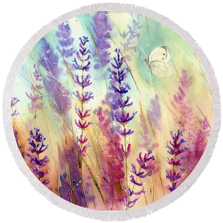 Wild Round Beach Towel featuring the painting Heathers In Haze by Suzann Sines