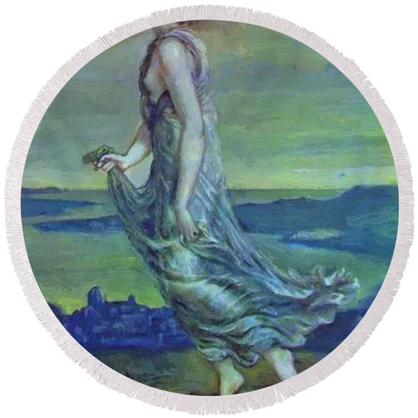 Hesperus Round Beach Towel featuring the painting Hesperus The Evening Star 1870 by BurneJones Edward