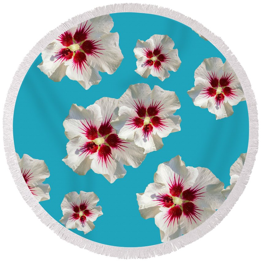 Hibiscus Flower Round Beach Towel featuring the mixed media Hibiscus Flower Pattern by Christina Rollo