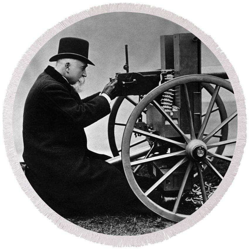 Maxim Machine Gun Round Beach Towel featuring the photograph Hiram Maxim Firing His Maxim Machine Gun - 1884 by War Is Hell Store