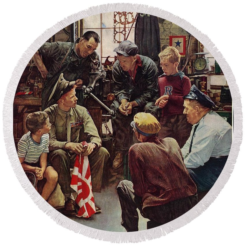 Flags Round Beach Towel featuring the drawing Homecoming Marine by Norman Rockwell