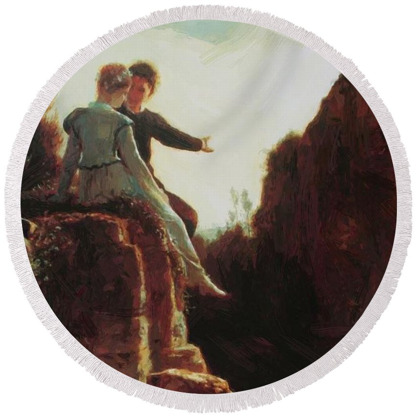 Honeymoon Round Beach Towel featuring the painting Honeymoon by Bocklin Arnold