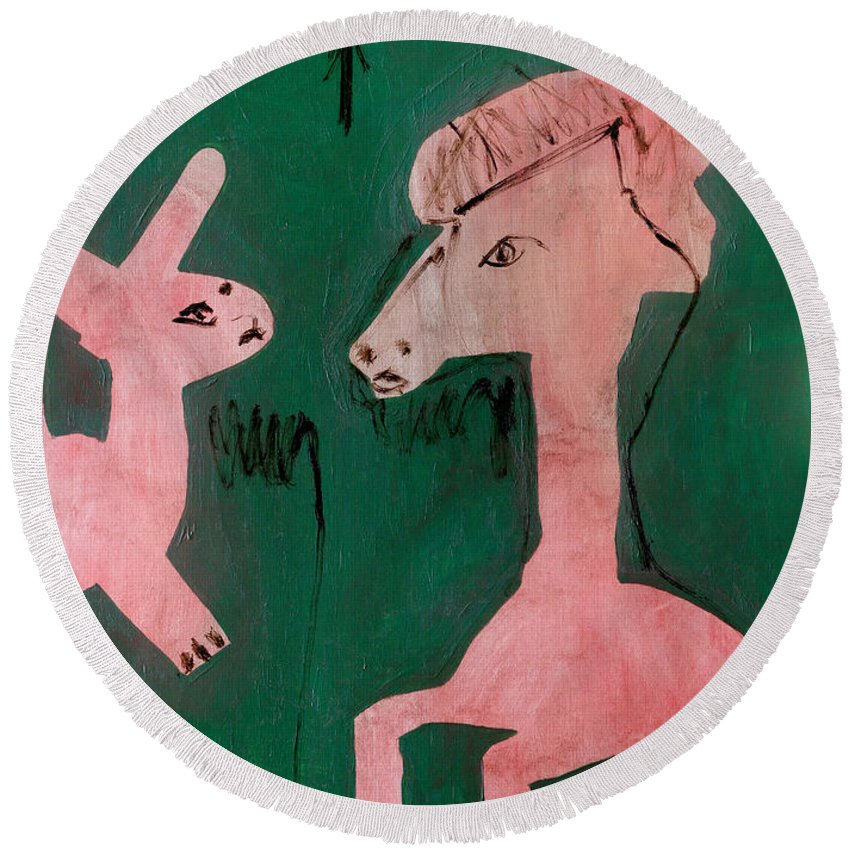 Green Round Beach Towel featuring the painting Horse And A Rabbit by Artist Dot