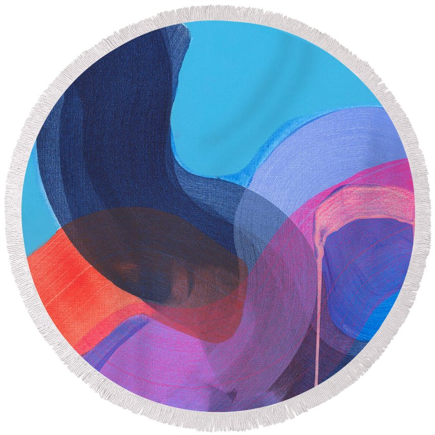Abstract Round Beach Towel featuring the painting How Did It Get To Be So Late? by Claire Desjardins