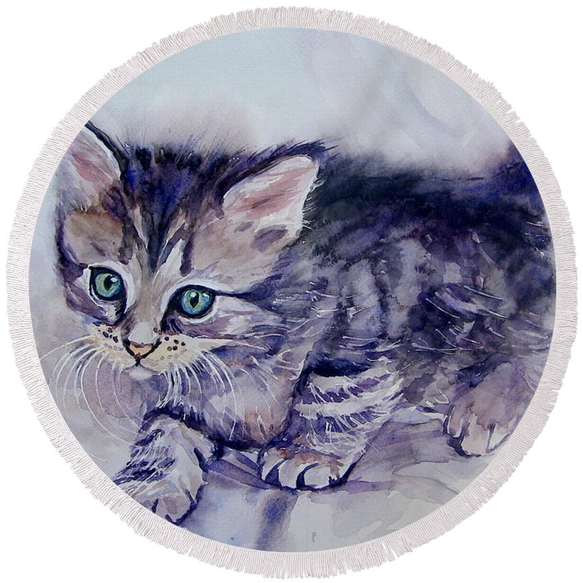 Little Round Beach Towel featuring the painting Hunting For A Mouse by Suzann Sines