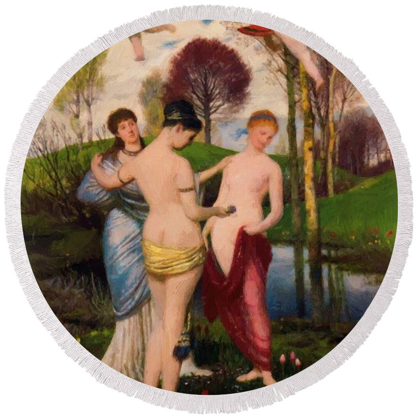 Hymn Round Beach Towel featuring the painting Hymn To Spring by Bocklin Arnold