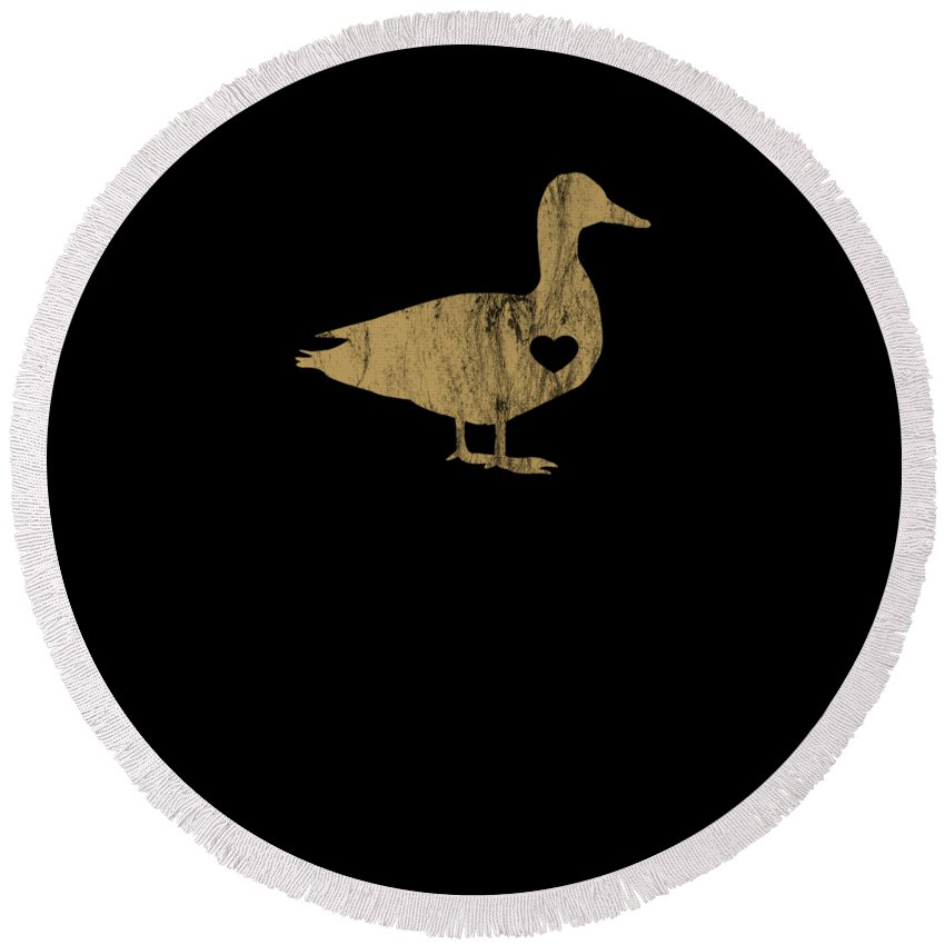 Crazy-duck Round Beach Towel featuring the digital art I Love Ducks Gold Fowl Waterfowl Hunter Quack by Henry B