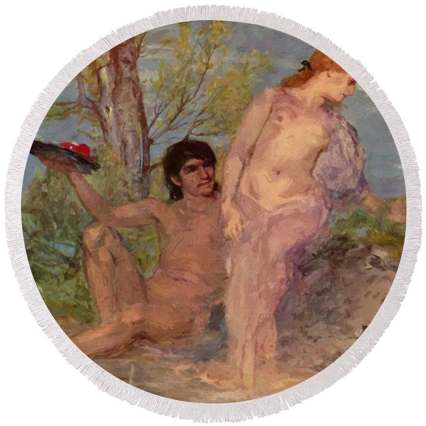 Idyll Round Beach Towel featuring the painting Idyll 1866 by Bocklin Arnold
