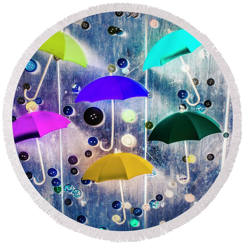 Artwork Round Beach Towel featuring the photograph Imagination Raining Wild by Jorgo Photography - Wall Art Gallery