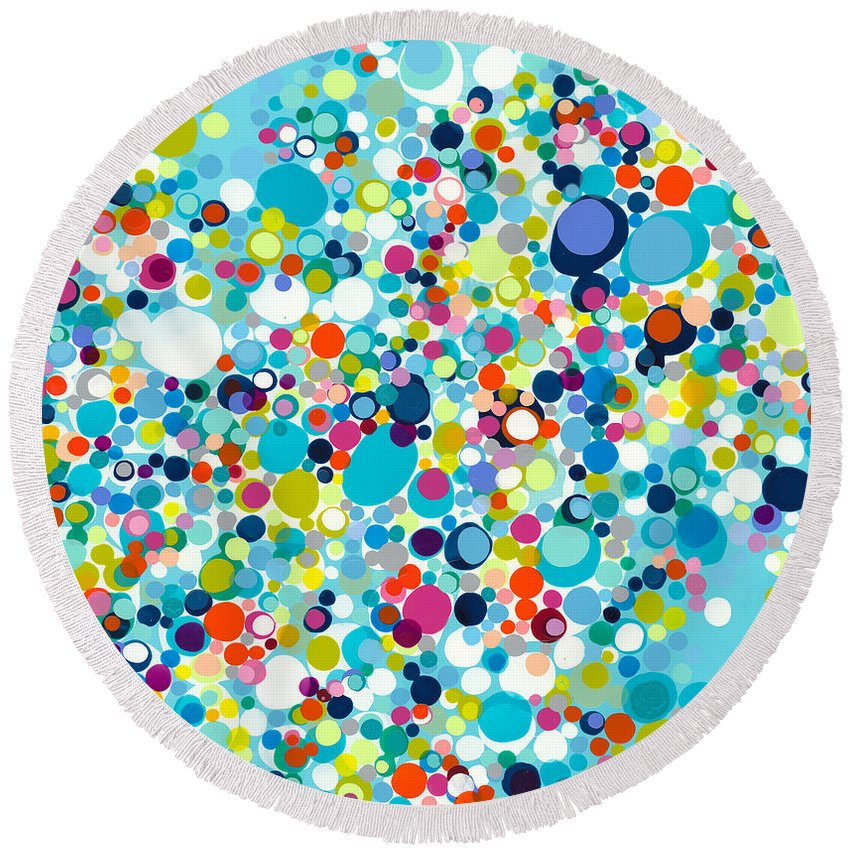 Abstract Round Beach Towel featuring the painting In The Meantime by Claire Desjardins