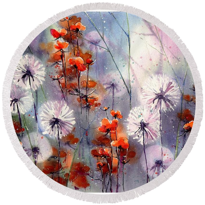 Red Round Beach Towel featuring the painting In The Night Garden - Orange Sparkles by Suzann Sines