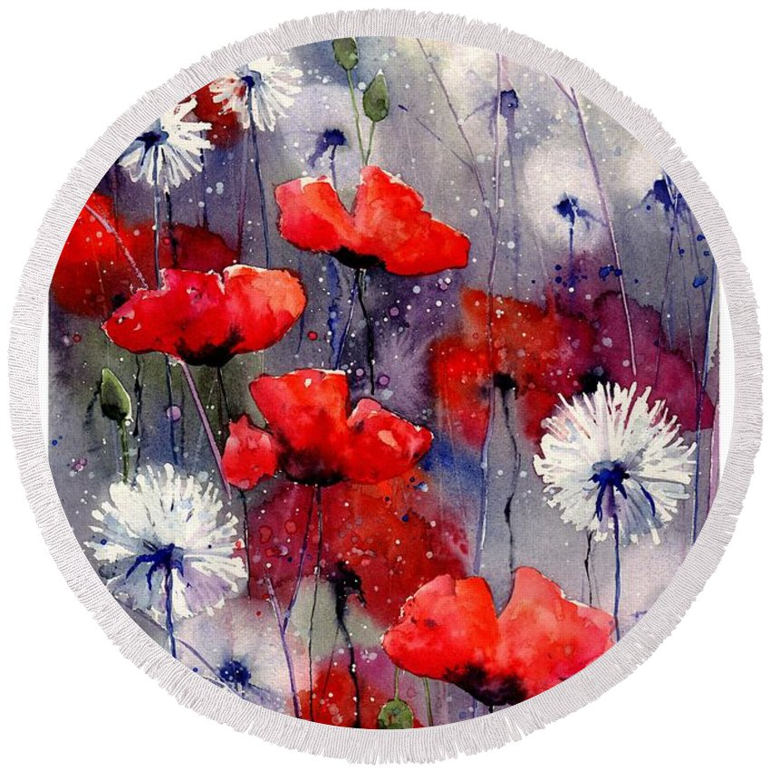 Red Round Beach Towel featuring the painting In The Night Garden - Sleeping Poppies by Suzann Sines