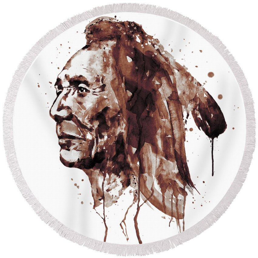 Sepia Watercolor Portrait Of An Indian Round Beach Towel featuring the painting Indian Warrior Sepia Tones by Marian Voicu