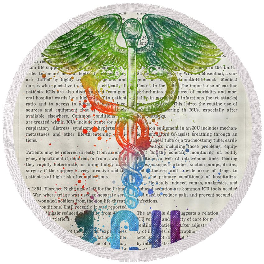 Icu Round Beach Towel featuring the digital art Intensive Care Unit Gift Idea With Caduceus Illustration 03 by Aged Pixel