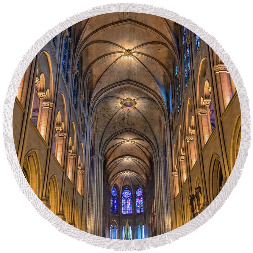 Notre Dame Round Beach Towel featuring the photograph Interior Of Notre Dame De Paris by Delphimages Photo Creations