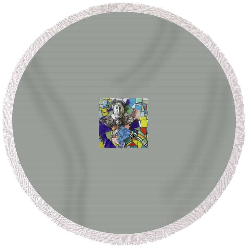 Tile Round Beach Towel featuring the mixed media Ishtar by ILona Halderman