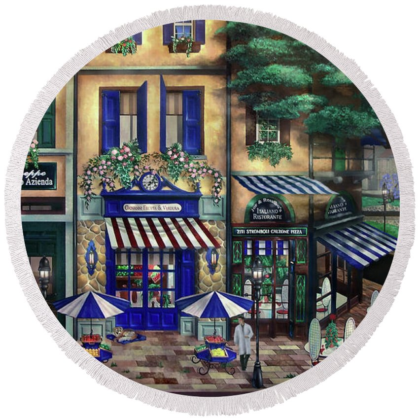 Italian Round Beach Towel featuring the mixed media Italian Cafe by Curtiss Shaffer