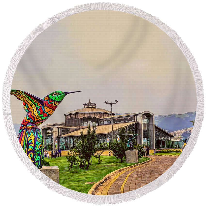 Architecture Round Beach Towel featuring the photograph Itchimbia Park by Maria Coulson