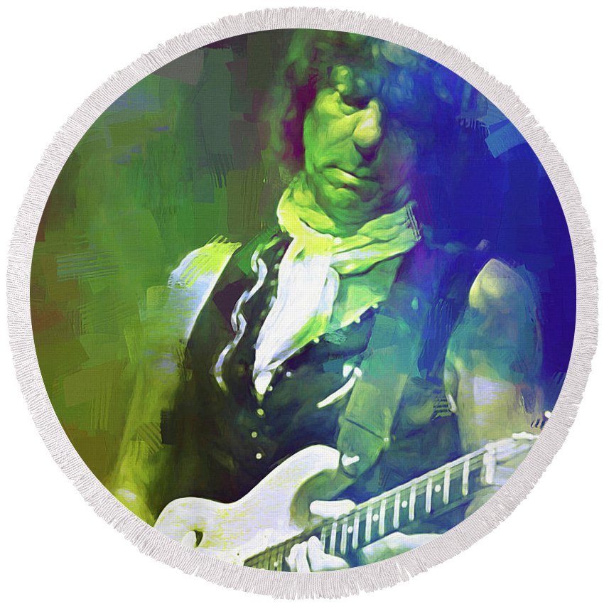 Jeff Beck Round Beach Towel featuring the mixed media Jeff Beck, Love Is Green by Mal Bray