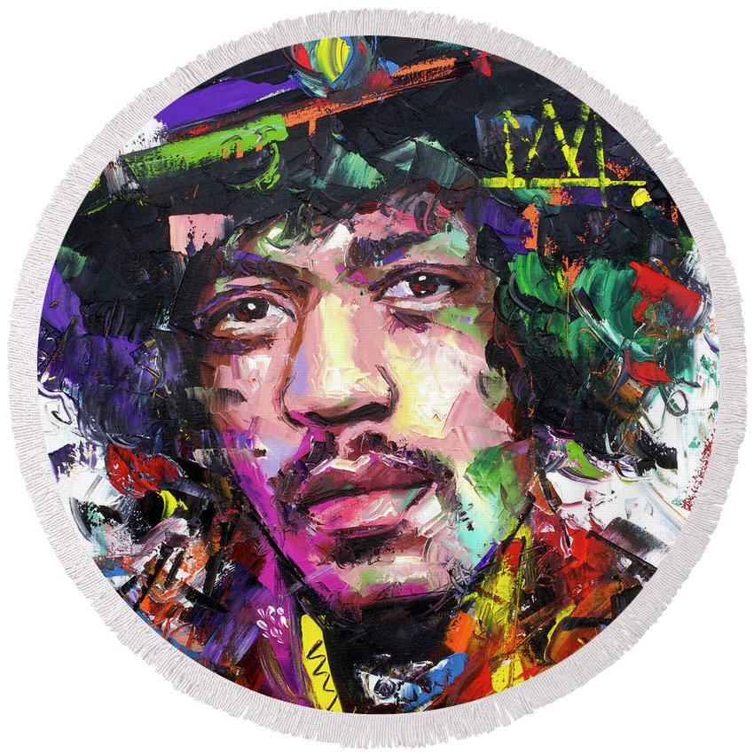 Jimi Round Beach Towel featuring the painting Jimi Hendrix Iv by Richard Day