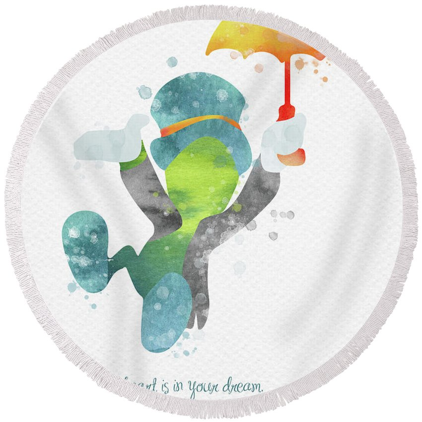 Pinocchio Round Beach Towel featuring the digital art Jiminy Cricket Watercolor by Mihaela Pater