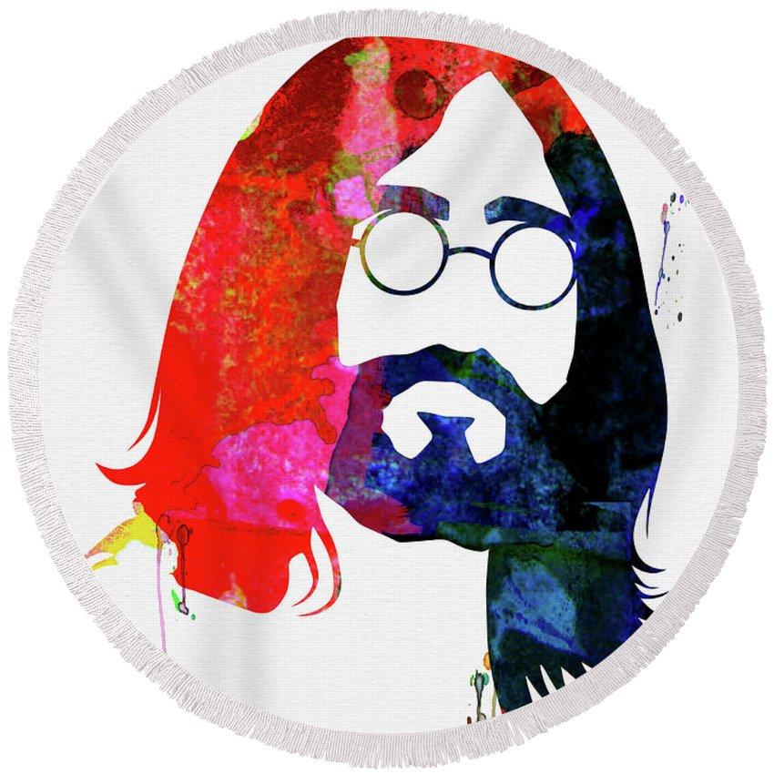 John Lennon Round Beach Towel featuring the mixed media John Watercolor by Naxart Studio