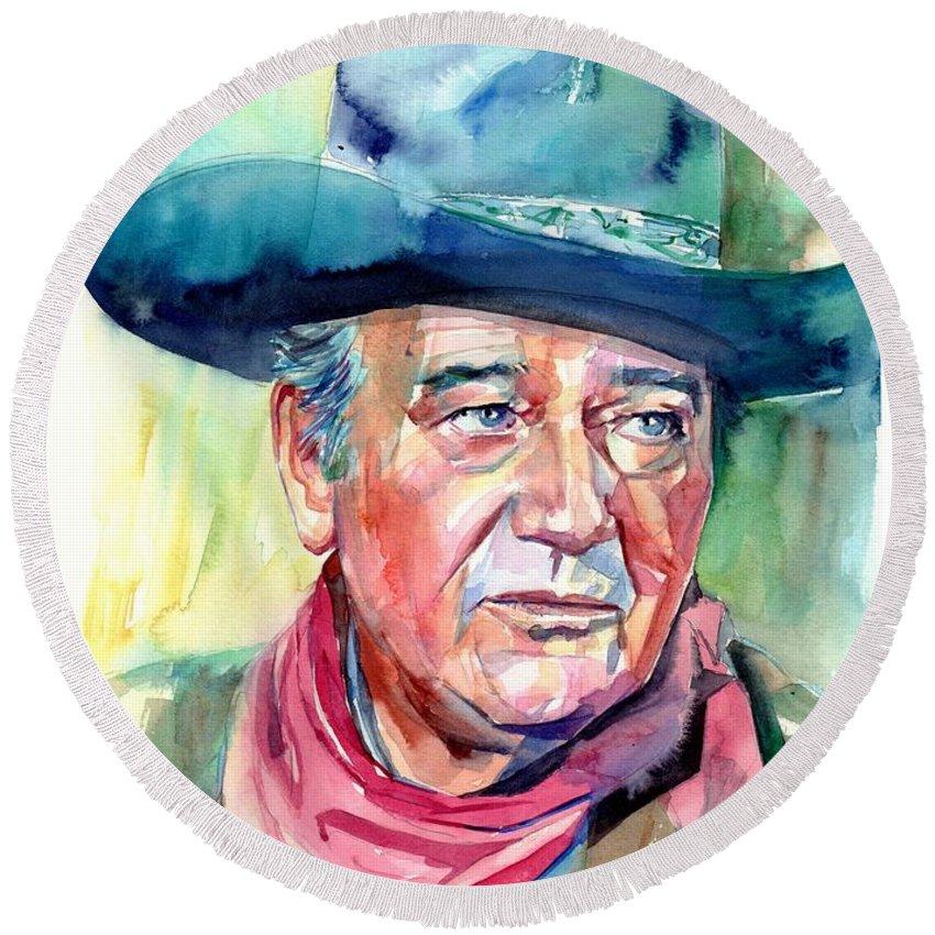John Round Beach Towel featuring the painting John Wayne Portrait by Suzann Sines