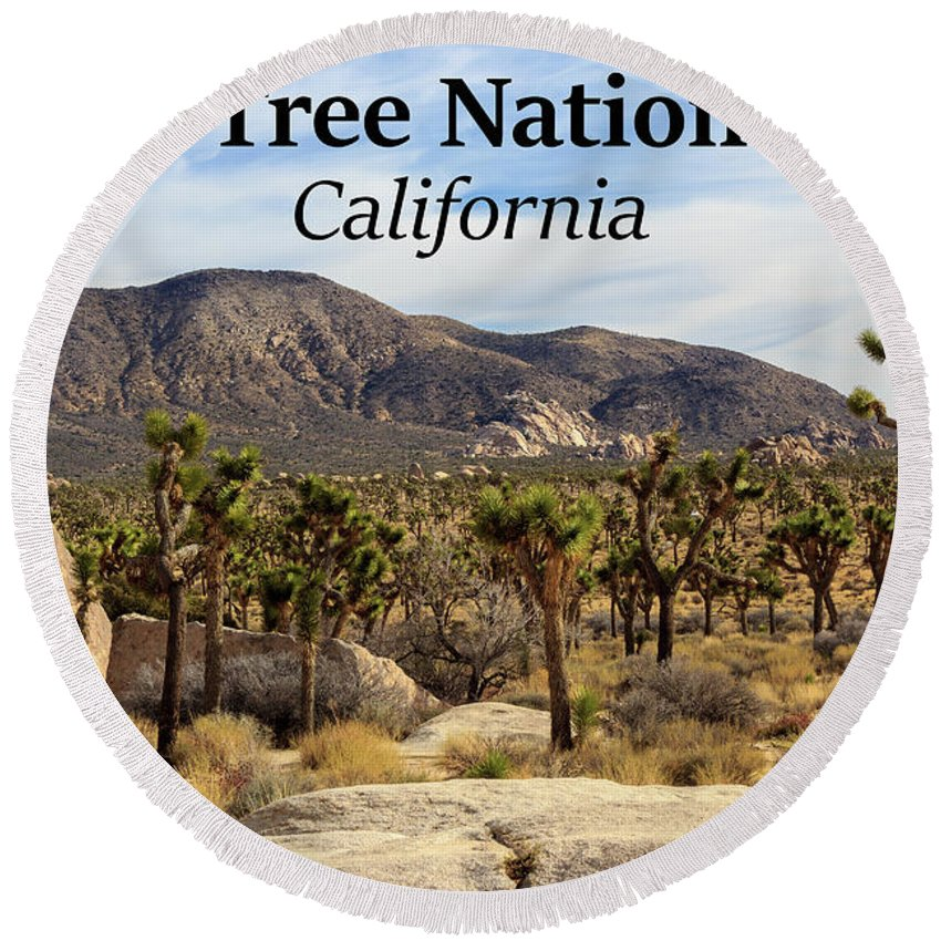 Joshua Tree National Park Valley Round Beach Towel featuring the photograph Joshua Tree National Park Valley, California by G Matthew Laughton