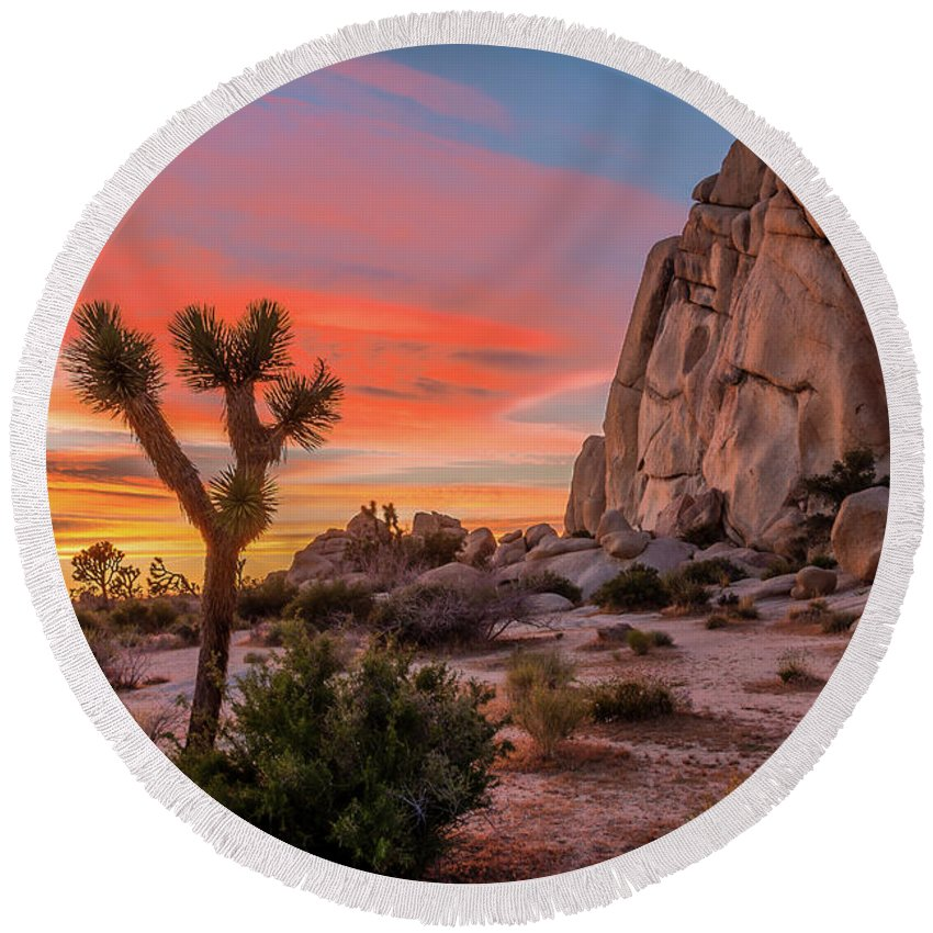 Rock Climbing Photographs Round Beach Towels