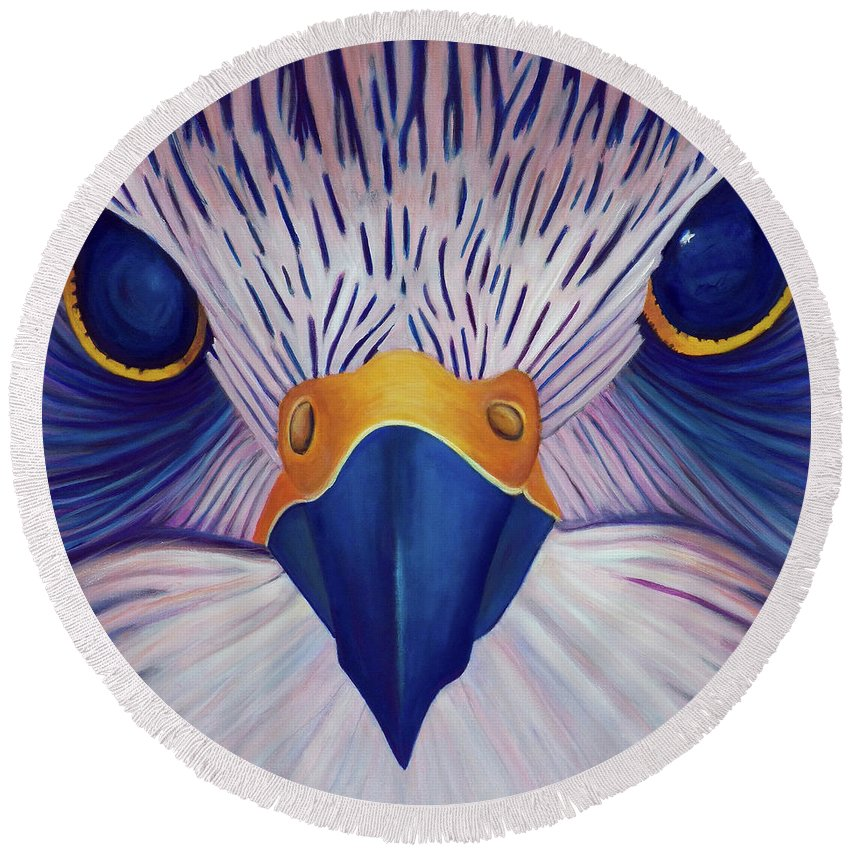 Falcon Round Beach Towel featuring the painting Joy Ride by Brian Commerford