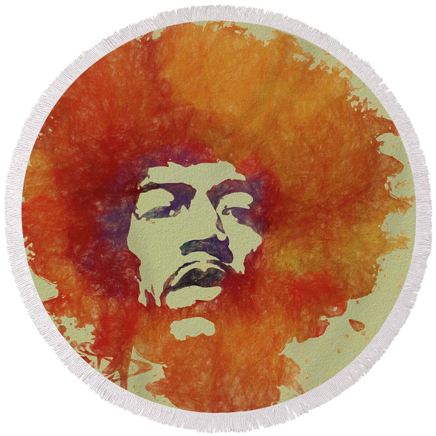 Psychedlic Round Beach Towel featuring the painting Just Jimi by Dan Sproul