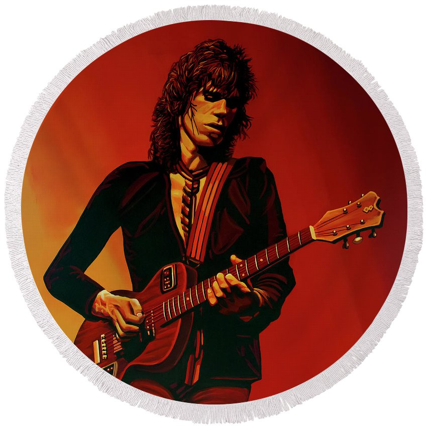 Keith Richards Round Beach Towel featuring the painting Keith Richards 3 by Paul Meijering