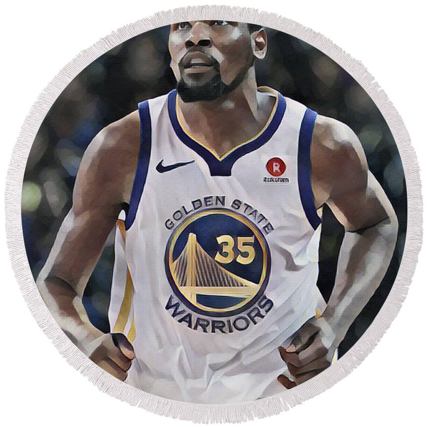 Kevin Durant Round Beach Towel featuring the mixed media Kevin Durant Golden State Warriors Abstract Art 1 by Joe Hamilton